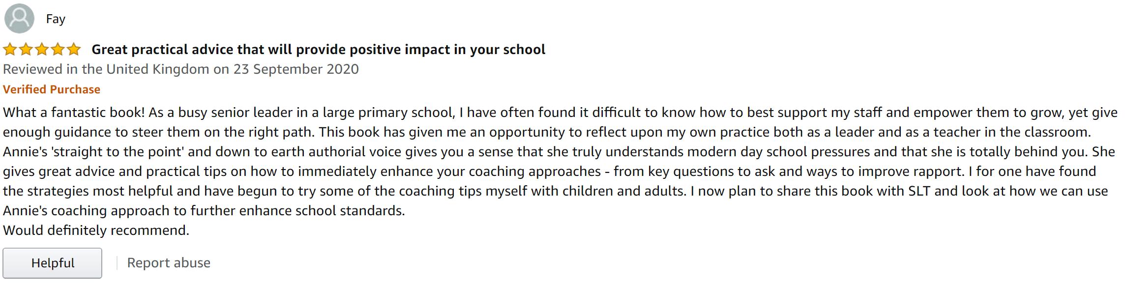 Best Coaching in schools book-Amazon review - SLT